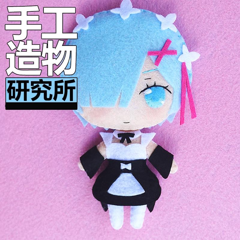 Anime Re:zero Kara Hajimeru Isekai Seikatsu Rem Ram Cosplay DIY Handmade Material Package Mini Plush Doll Hanging Keychain Toy