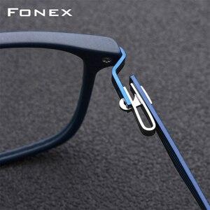 Image 3 - FONEX TR90 Lega di Ottica di Vetro del Telaio Uomini Cerchio Pieno Quadrati Miopia Occhio di Vetro per Gli Uomini Occhiali Da Vista Occhiali Senza Viti