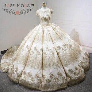 Image 1 - עלה שמפניה שמלת כלה נצנצים שרוולים קצרים 2018 יוקרה Moda מוסלמי כדור שמלת חתונת שמלות ארוכה רכבת ערבית