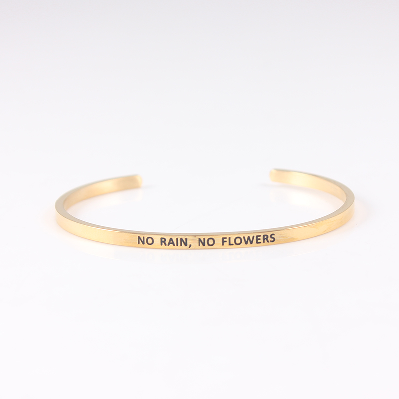 quot No rain no flowers quot Stainless Steel Bangle Engraved Inspirational Quote Cuff Mantra Bracelet For Women in Bangles from Jewelry amp Accessories