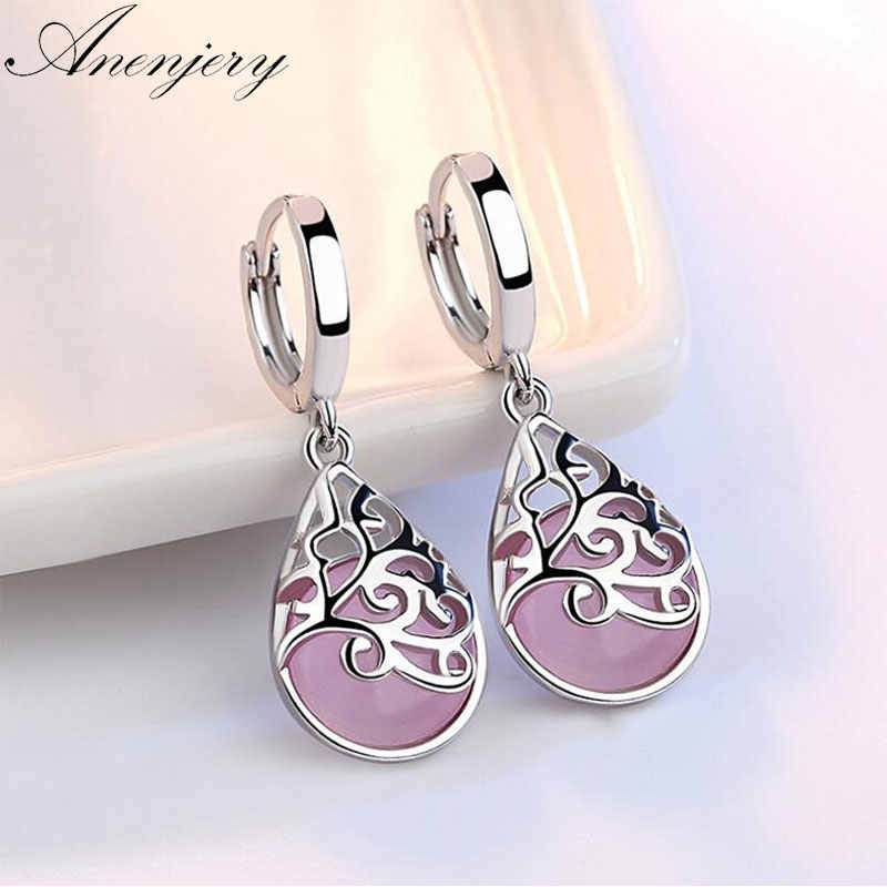 Anenjery 925 Sterling Silver Moonlight Opal Air Mata Totem Drop Anting-Anting Hadiah Oorbellen Boucle D'oreille Femmes S-E321