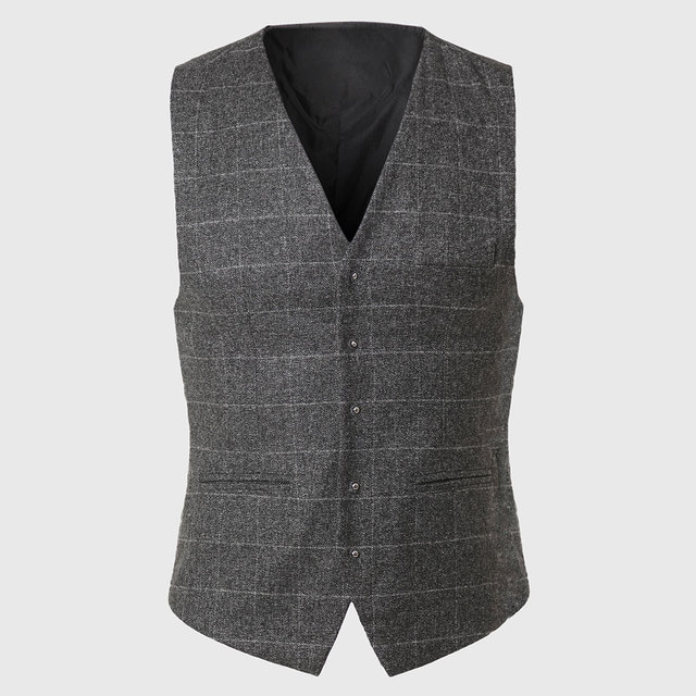 Plaid Checkered Vest Waistcoat Male Sleeveless Work Vest Men Waistcoat Photography Patterns