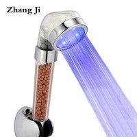 Süper Serin SPA 3 Renk LED Duş Başlığı Sıcaklık Sensörü Duş Başlığı Anyon Filtre Su Akış Jeneratör Püskürtme Memesi ZJ082