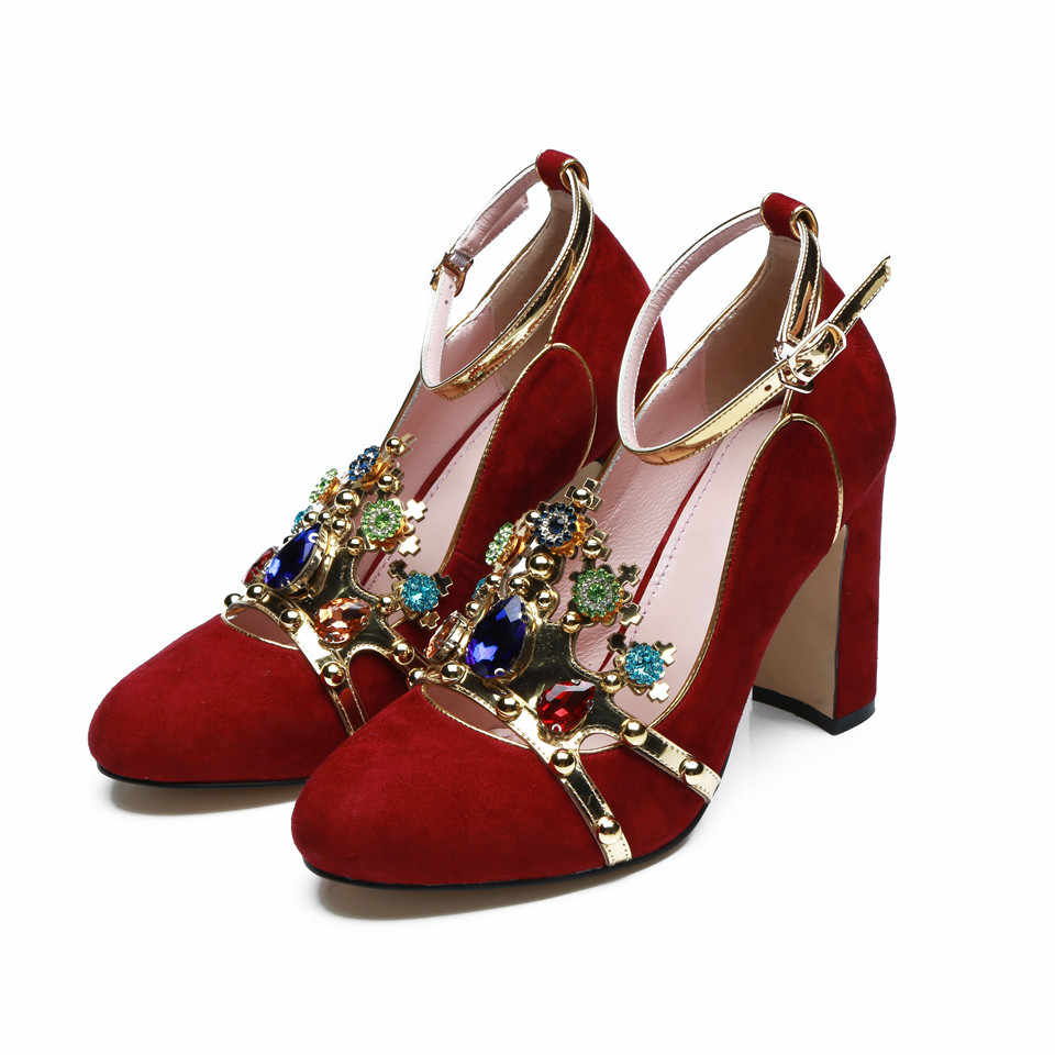 ... Sexy Crown jeweled Red High heels Wedding Shoes Woman Suede Round Toe  Chunky high heeled ankle ... 5c1f1d061ab5
