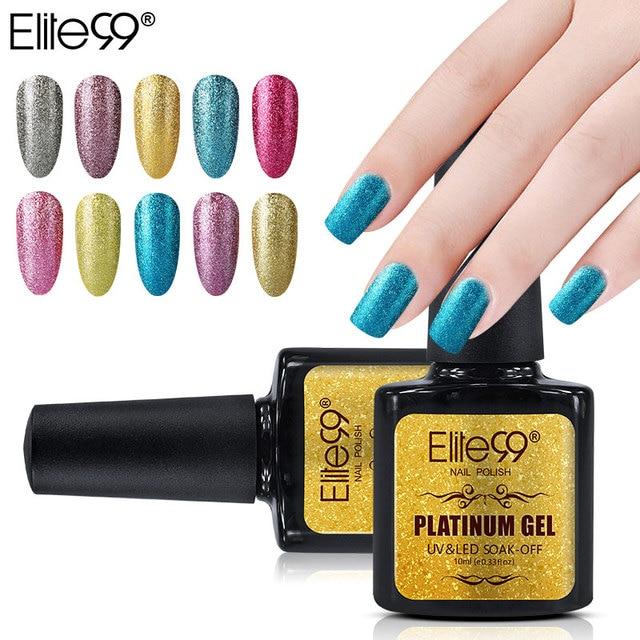Elite99 10 ml Platinum lakier żelowy kolorowy dąb Off żel polski paznokci długotrwały lakier do paznokci Mnicure żel wybierz 1 z 34, błyszczących kolorów,