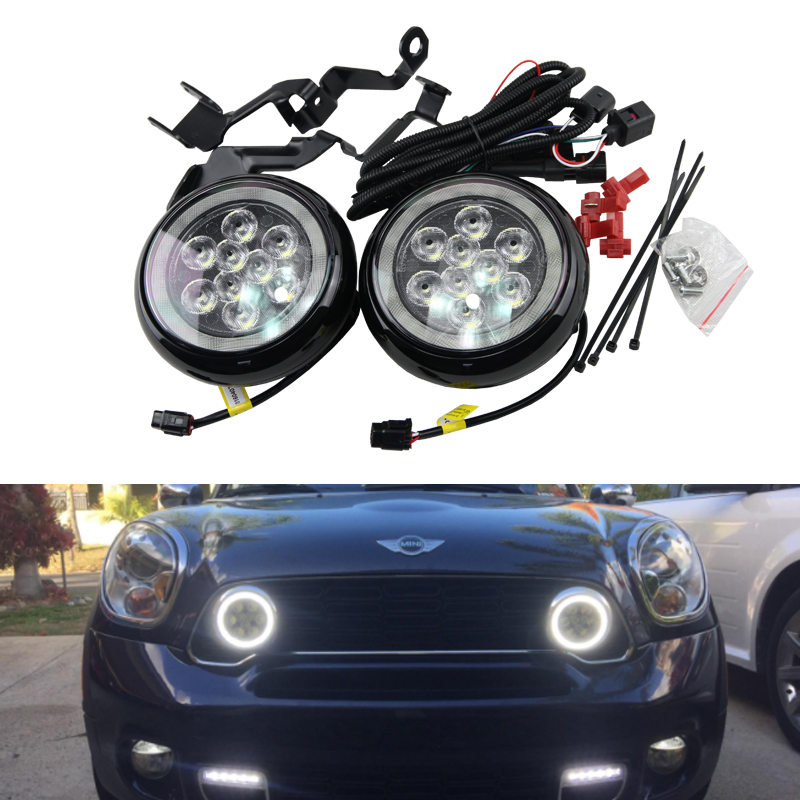 Led Rally Driving Light Halo Ring Daytime Running Lamps For Mini Cooper R55 R56 R57 R58 R60 R61 F56 Chrome Black Led Daylights retail baby girl clothes newborn autumn