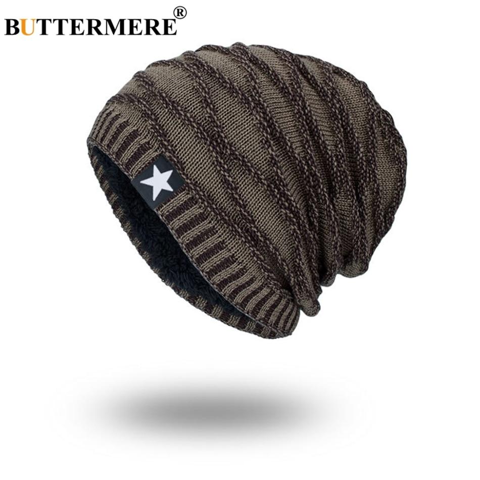 BUTTERMERE Knitted Hat Men   Beanie   Khaki Thicker Warm Bonnet Skull Cap Male Soft Solid Star Autumn Winter   Skullies     Beanies   2019