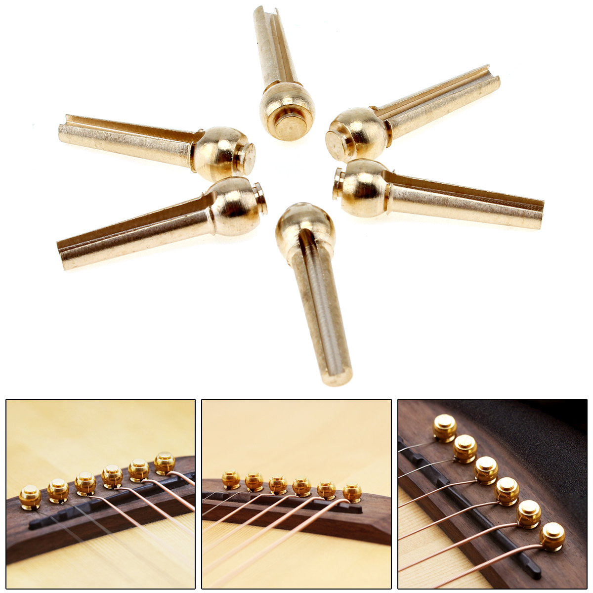 6pcs/set Pure Copper Brass Guitar Bridge Pin Strings Nail Pegs for Folk / Acoustic Guitar Keep Full Timbre