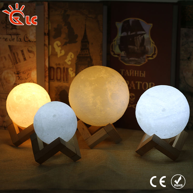 led table lamp 3D Print Moon Lamp led Rechargeable 2 Color Change Touch Switch Bookcase Night Light Home Decor Creative Gift цены онлайн