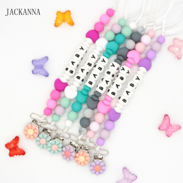 Customized name baby pacifier clips personalised silicone beads customized name baby pacifier clips personalised silicone beads pacifier chain soother clips baby negle Gallery