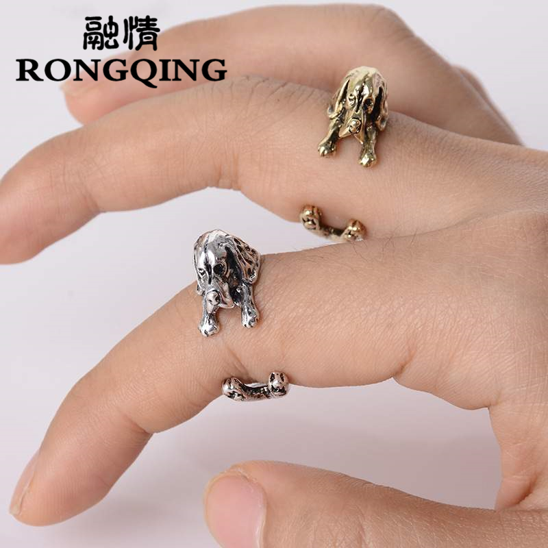 RONGQING 1pcs Anillo Basset Hound Dog Rings Bronzo / Anelli placcati argento antico Anelli regolabili per le donne