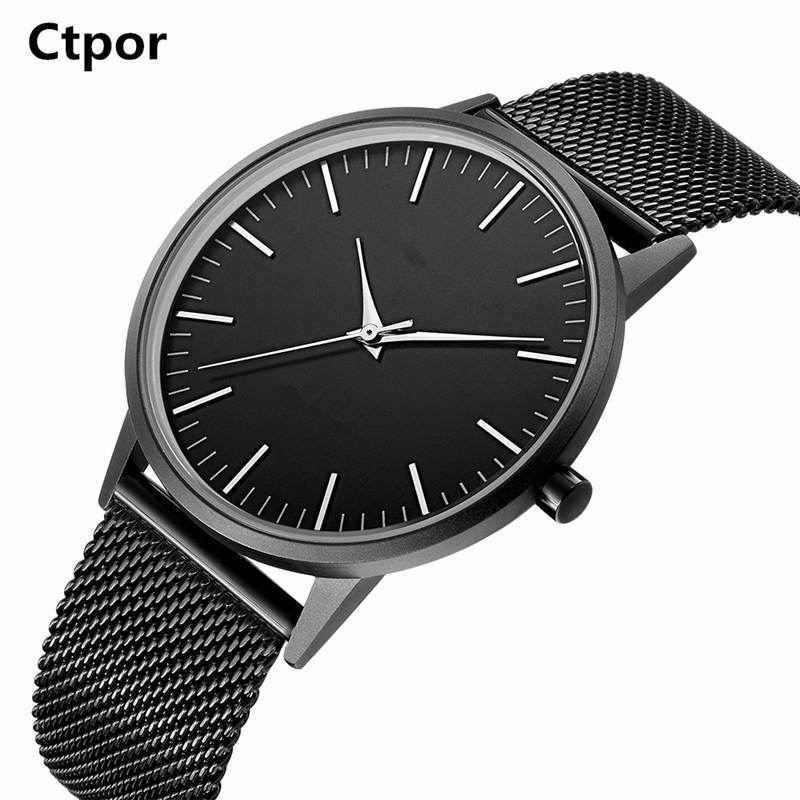Ctpor Men Watch Fashion Choose Nylon Leather Wrist Watches Casual Male Ultra-thin Dial Clock Waterproof Relogios Montres No Logo