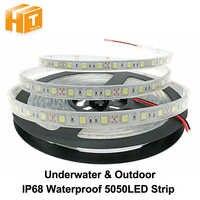 Tira de LED impermeable IP67 IP68 5050 DC12V alta calidad bajo el agua y seguridad al aire libre RGB tira de luz LED 300 ledes 60 LEDs/M 5 m/lote