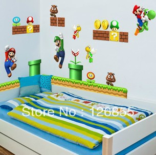 Super Mario Wall Stickers,kids Bedroom Cartoon Wall Art,removable Wall  Murals,wall