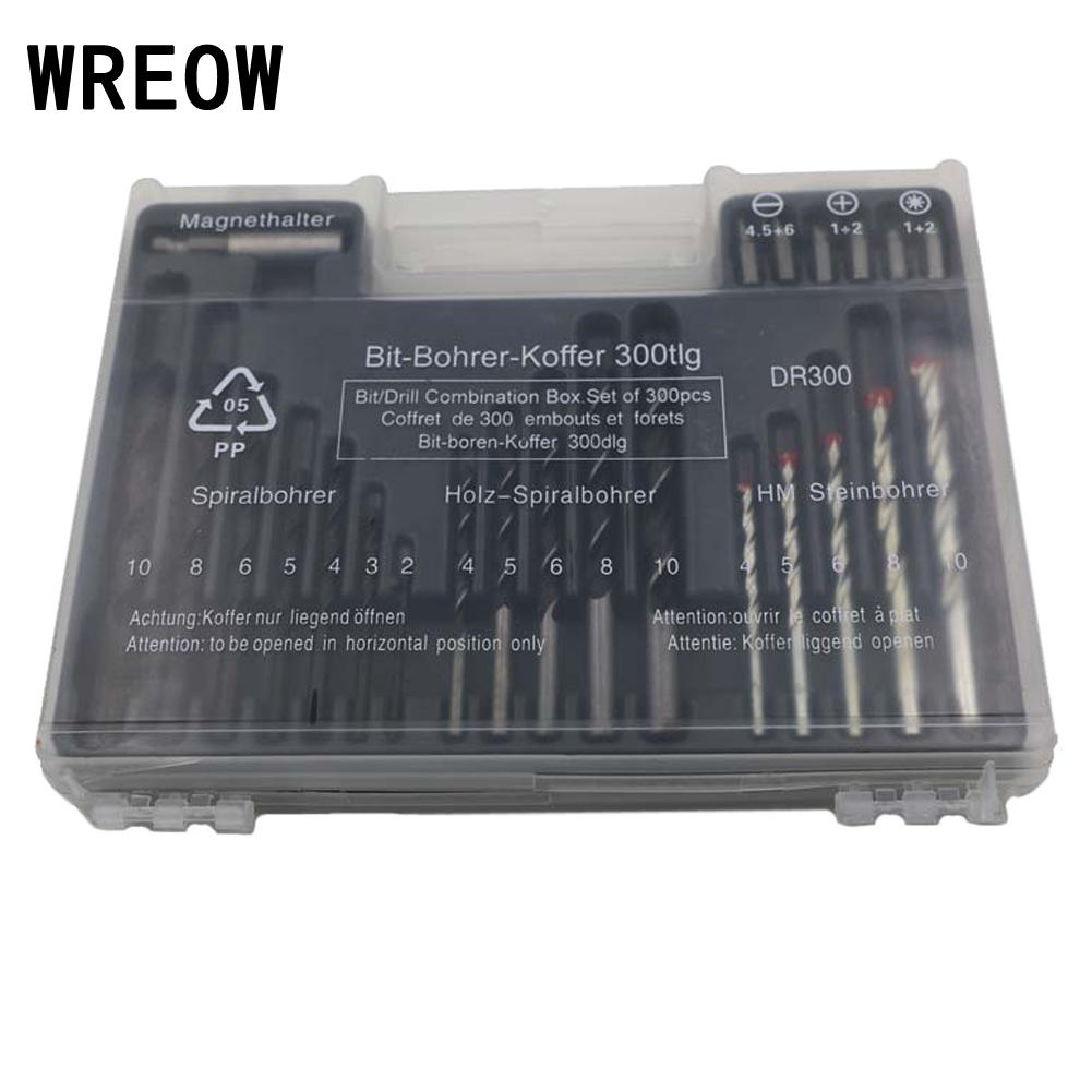 WREOW 300pc Carbon Steel Drill Bit Set Assorted Carbon Steel Twist Drill Bit Set Expansion Screw Woodworking Tool W/Plastic Box