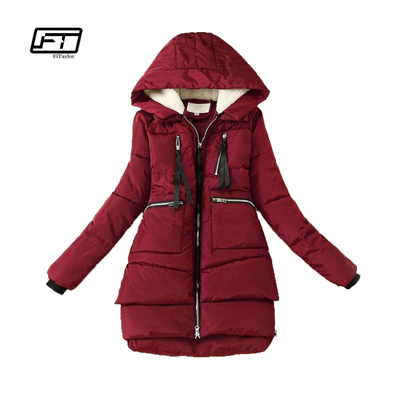 Fitaylor Winter Jacket Women Coats Plus Size Thick Cotton Coat Hooded Parkas  Women Winter Coat Warm Long 3XL 4XL 5XL Overcoat 2017 winter women long hooded cotton coat plus size padded parkas outerwear thick basic jacket casual warm cotton coats pw1003