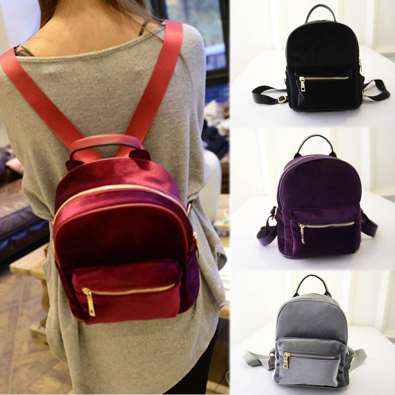 New Arrival Fashion Women Velvet Backpacks Pleuche Casual Style Girls Mochila Zipper Bags LT88 недорго, оригинальная цена