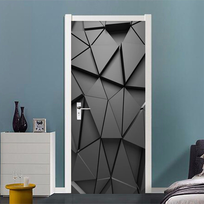 PVC Self-Adhesive Waterproof Door Sticker Wallpaper 3D Stereo Geometric Abstract Grey Triangles Murals Living Room Bedroom Decor