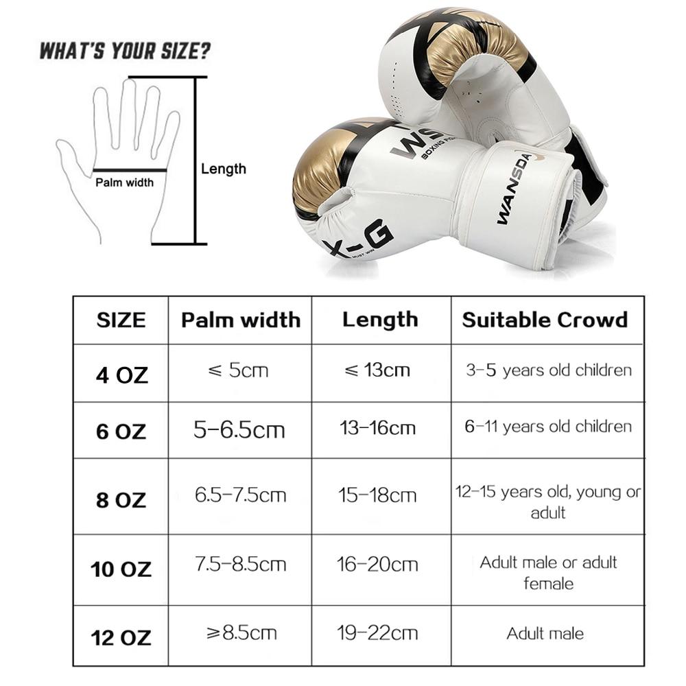Luvas de Boxe couro sintético tamanho adultomulheres/homens 8 10 12 6 oz