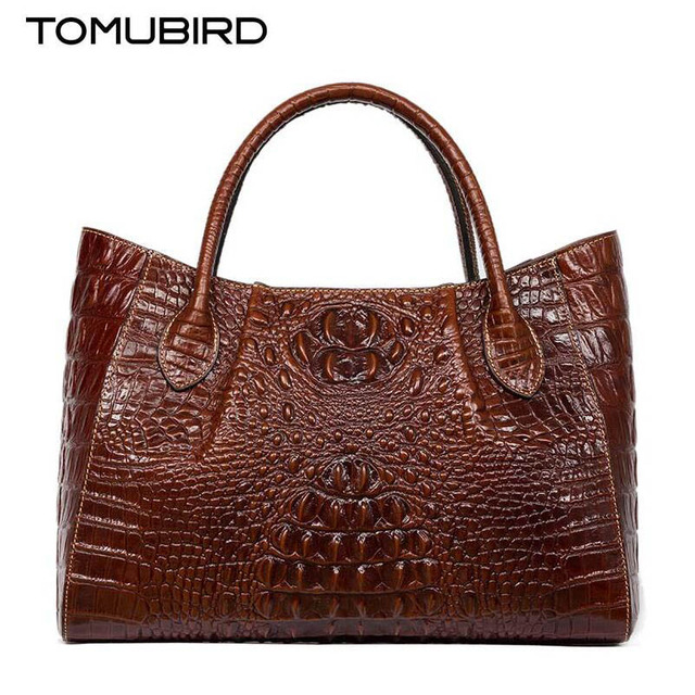 2017 New women bag genuine leather brands quality cowhide alligator grain embossing fashion women handbags shoulder big bag