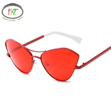 F.J4Z Hot Amazing Charm Korean Street Style Youth Ladie Sunglasses Fancy Pretty Cat Eye Gradual Lens Plastic Frame Goggles