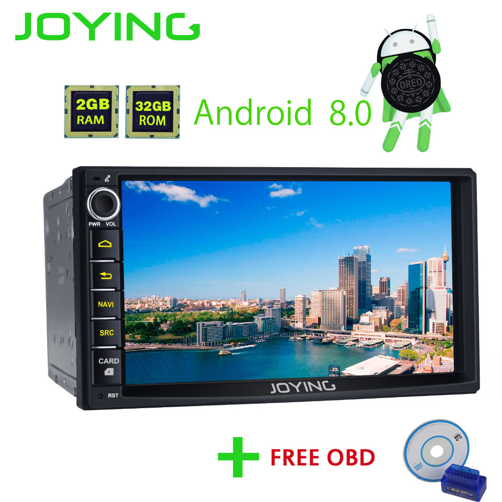 JOYING 2 Din Android 8.0 Car Radio with Free OBD2 2G+32G Octa Core Universal Head Unit Stereo GPS BT Navigation Car Accessories