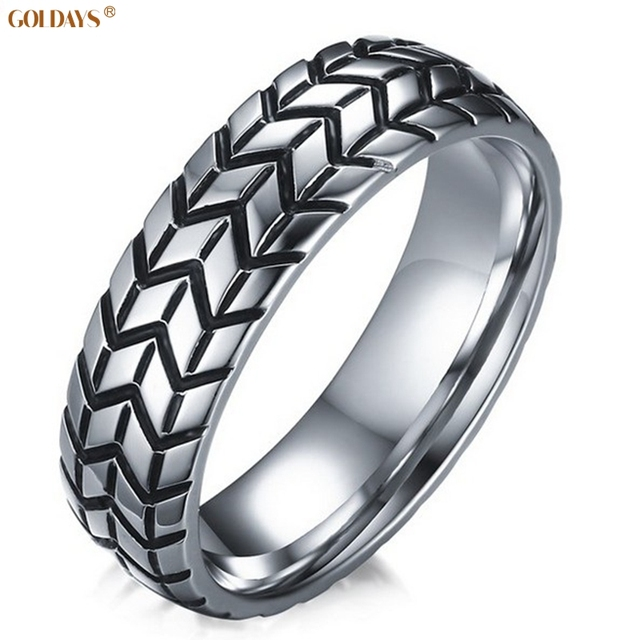Goldays 6mm Clic Stainless Steel Tire Tread Rings For Men Silvery Wedding Band Car Fans Love