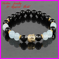 2014 New Design Gold Buddha Bracelets 8mm Black Onyx Agate Beads Bracelet Blue Crystal Agate Bracelet Yoga Meditation Bracelet