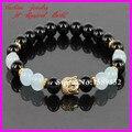 2014 new design ouro buda pulseiras 8mm black onyx ágata pulseira de ágata pulseira de miçangas de cristal azul yoga meditação pulseira
