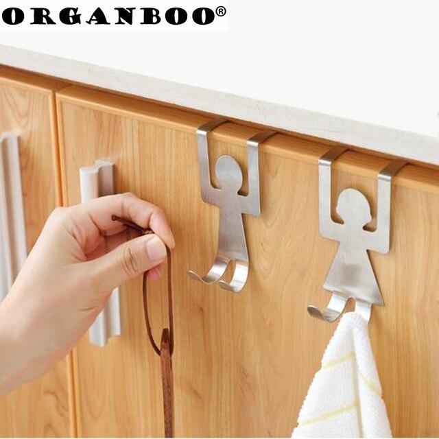 Organboo 2pcsset Cartoon Back Door Hook Creative Stainless Steel