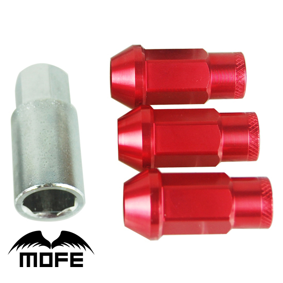 Mofe 20pcs/set 50mm Rays Wheel Lug Nuts  Aluminum Alloy Wheel Racing  Lug Nuts M12*1.5 (P:1.5 L:50MM)  Red