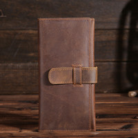 Hot Sale High Quality Vintage Style Crazy Horse Pile Top Leather Long Men S Wallets Male