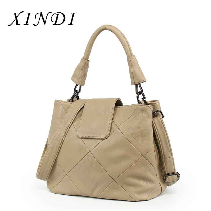 XINDI Women Handbag Bag for women 2018 Genuine Leather female bag Luxury Bucket Bag Designer brand Lady Shoulder Messenger Bag women bag fashion casual totes bag 2 sets for girls pu leather handbag designer women s shoulder messenger bags lady bucket bag