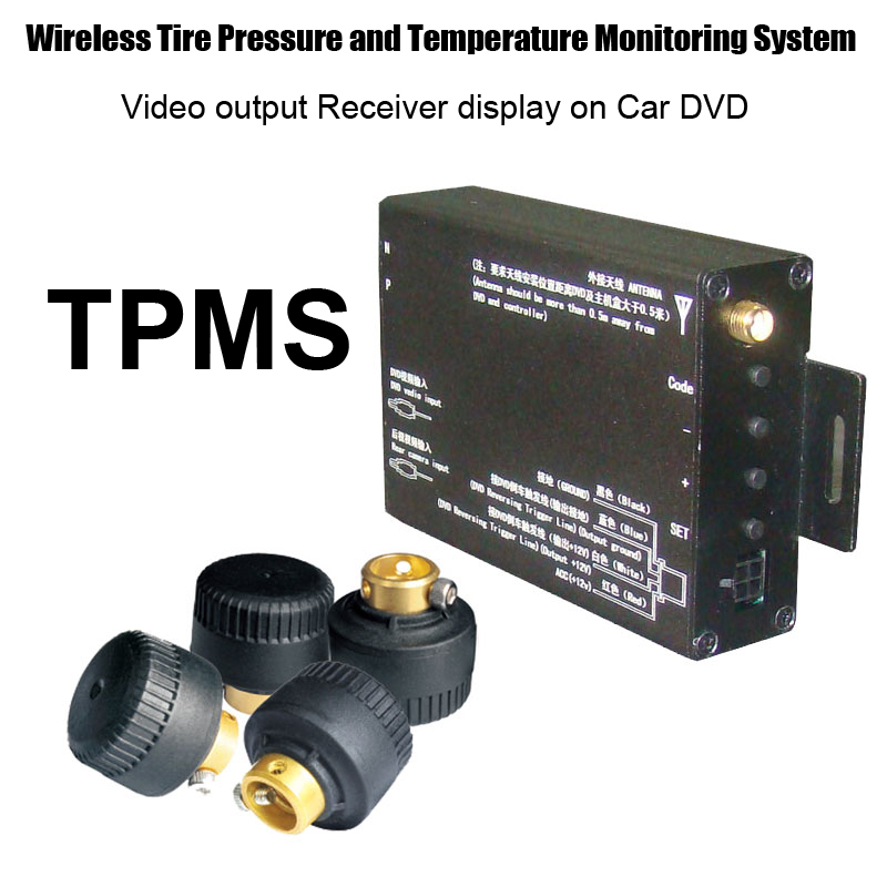 External Sensor Wireless TPMS Transit Receiver System with Video output display on Car DVD GPS or Monitor