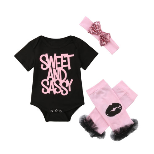 Alarm Mooie Pasgeboren Baby Meisje Kleding Sets Tops Bodysuits Jumpsuit Lip Beenwarmers Katoen Hoofdband 3 Stks Outfits Baby Meisjes 0-18 M Verkoopprijs