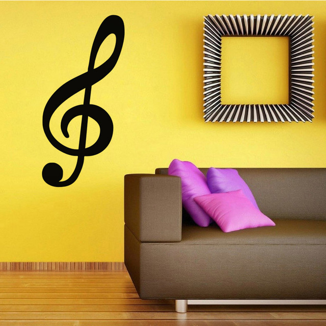 Large Size Wall Stickers Home Decor Treble Clef Musical Note Wall ...