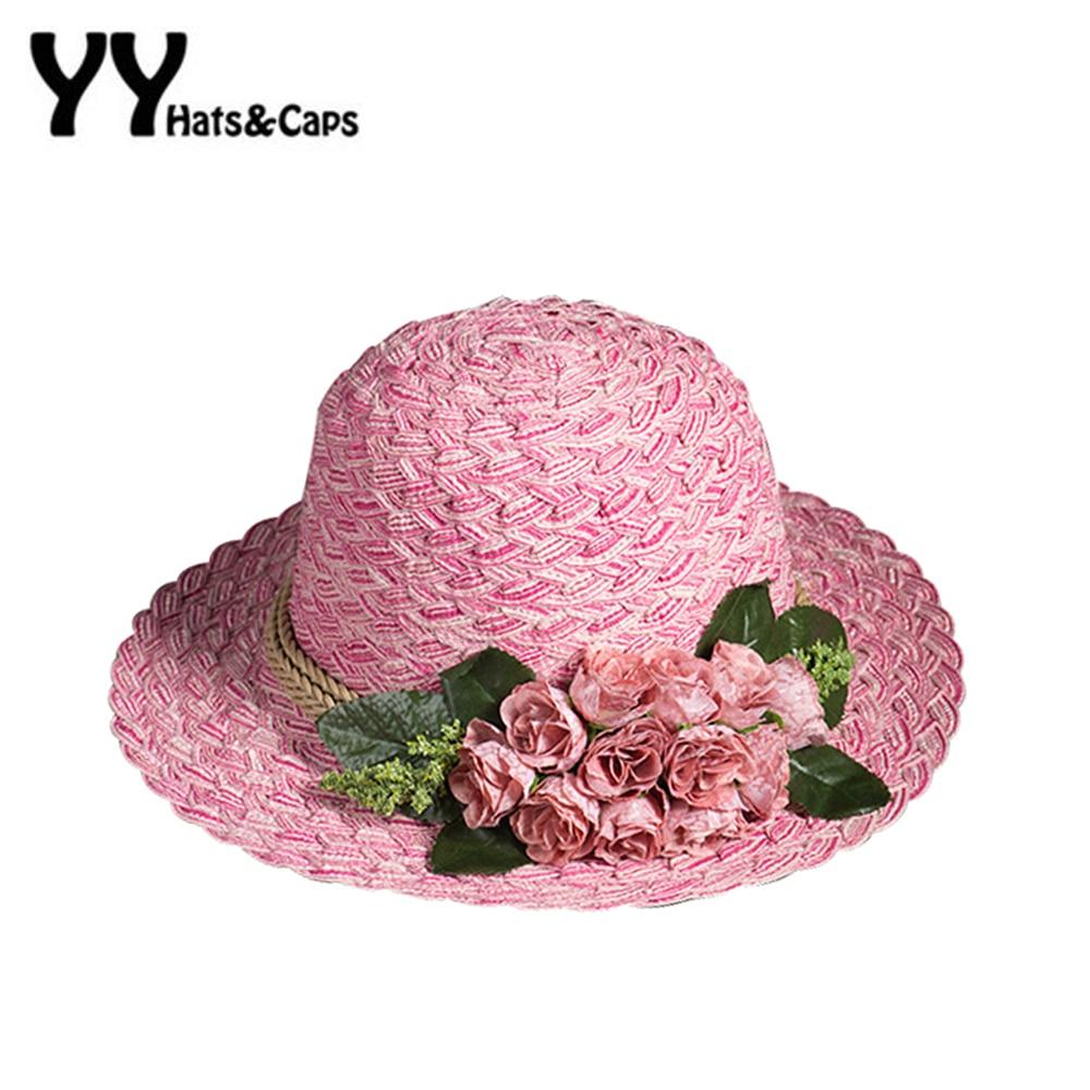 2016 verão de alta qualidade chapéu de palha chapéu de sol para mulheres  chá de flores de feltro de praia chapéu de sol viseira YY60166 bdc399d352f