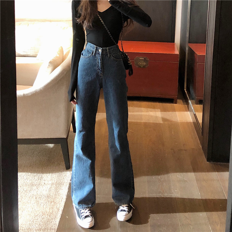 Hot Womens High Waist Jeans Wide Leg Loose Fit Leisure Vogue Denim Full Length Straight Casual Jeans Spring Summer(China)