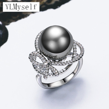 Recommend Very nice ring with Grey Pearl & Cubic zirconia crystal Trendy white jewellery dropshipping women statement jewelry