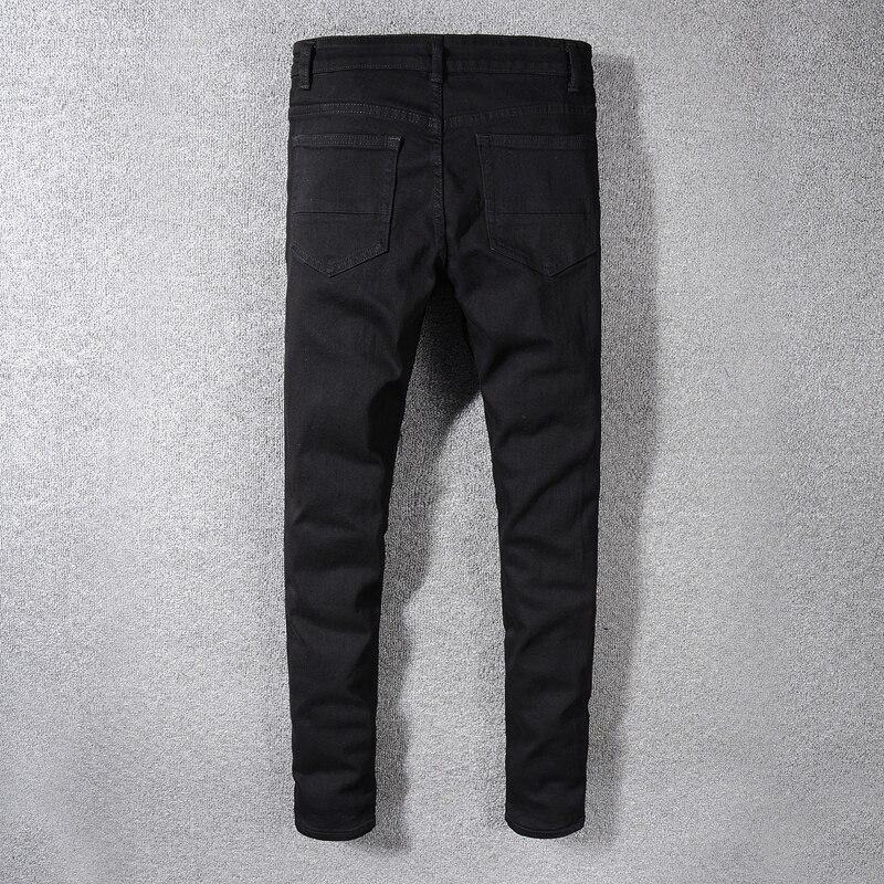 Royles Men's skinny black ripped jeans 1