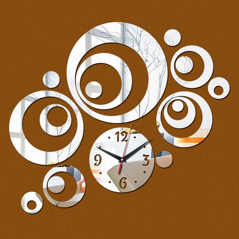 2017 promotion acrylic 3d mirror black silver quartz wall clocks real home decor stickers diy clock beautiful art