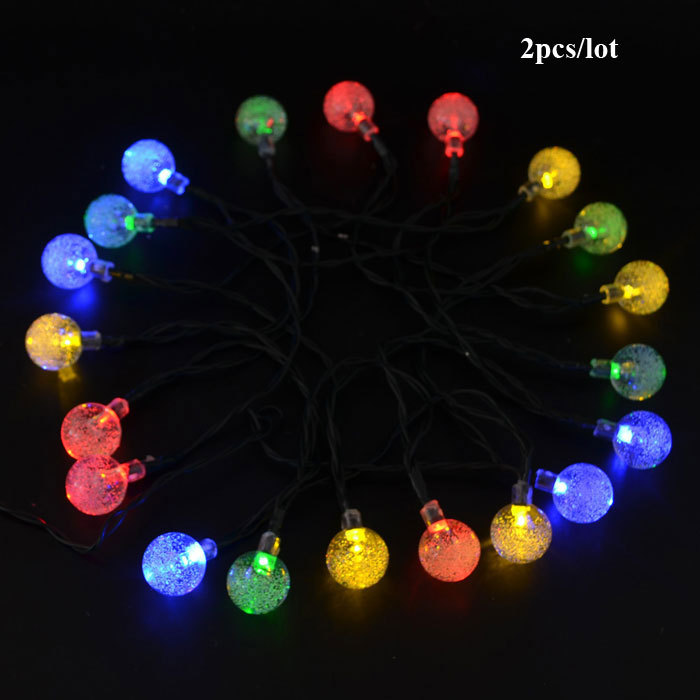 2pcs 20 led string lights outdoor white multi ball solar for 57in led lighted peacock outdoor christmas decoration