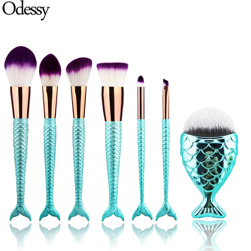New 7pcs/set Mermaid Fish Tail Make Up Eyebrow Eyeliner Blush Blending Contour Powder Cosmetic Beauty Makeup Brush Set Tools newest mermaid makeup brushes set fantasy eyebrow eyeliner blush blending contour foundation cosmetic beauty make up fish brus