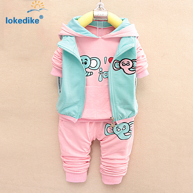 3 pieces Sets Vest+Hoodies+Trousers Girls Clothes Autumn Pink Winter Kids Toddler Girl Clothing Set Elephant Fall Fashion T699