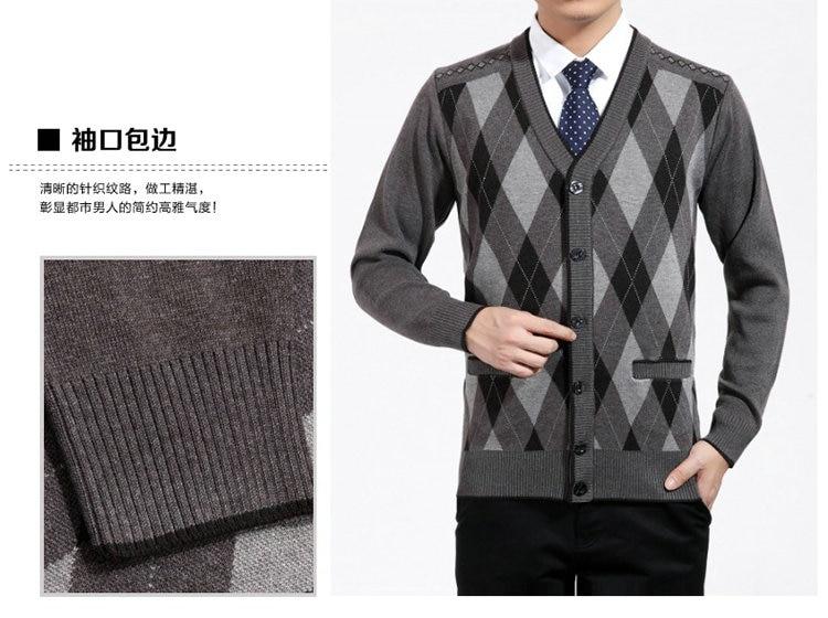 Man Woollen Cashmere Cardigan Sweaters Textured Knitted Sweater Men V-neck Cardigan Elegance Knitwear Business Casual Wear (4)