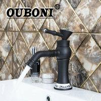 OUBONI Short Kitchen Torneira Diamond Handle Swivel 360 Spray Spout Oil Rubbed Black Bronze Basin Sink