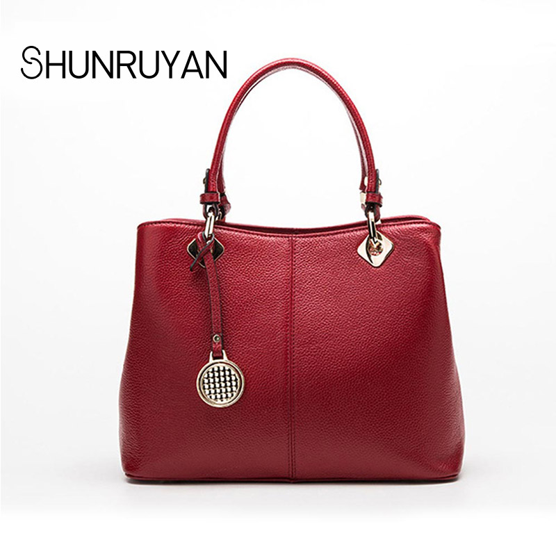 SHUNRUYAN 2018 New shoulder leather handbags simple fashion leather ladies bag hand Messenger bagSHUNRUYAN 2018 New shoulder leather handbags simple fashion leather ladies bag hand Messenger bag