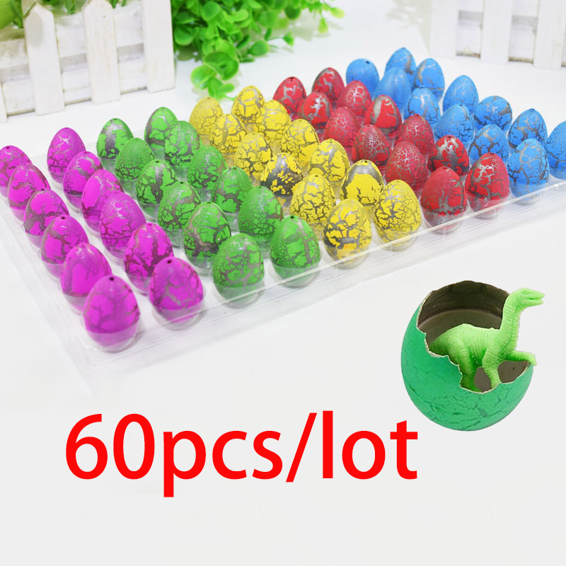 60pcs/lot Novelty Gag Toys Children Toys Cute Magic Hatching Growing Animal Dinosaur Eggs For Kids Educational Toys Gifts  Funny