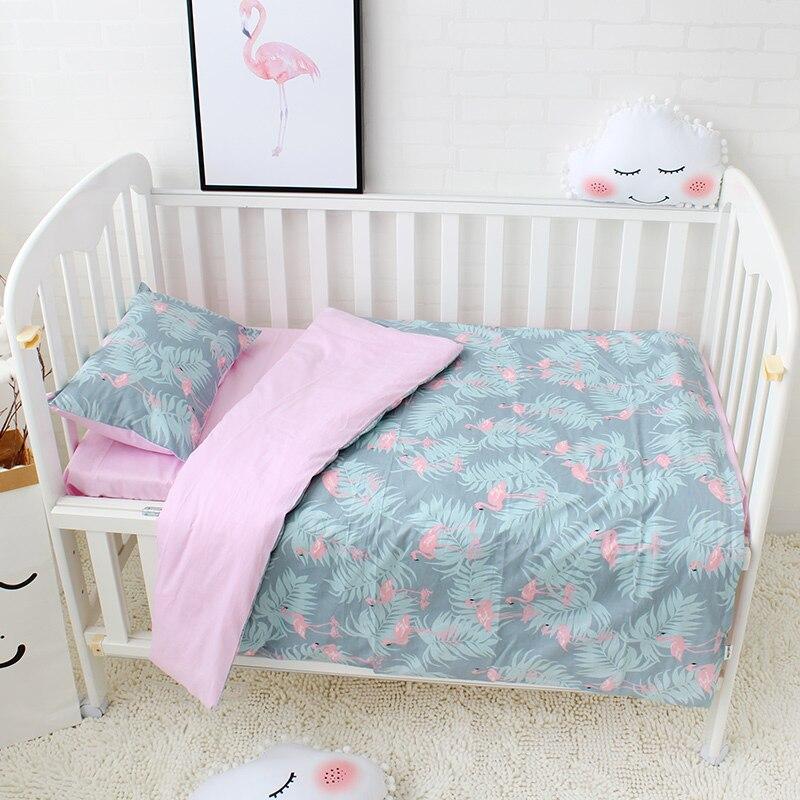 3 Pcs Set Baby Bedding Set Included Duvet Cover Flat Sheet Pillowcase Pure Cotton Flamingo Pattern Baby Bed Linen Set Crib Kit flamingo linen placement