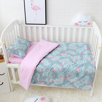 3 Pcs Set Baby Bedding Set Included Duvet Cover Flat Sheet Pillowcase Pure Cotton Flamingo Pattern